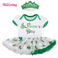 0-2 Years New Fashion Clover Girls Dress with Headband Lace Hollow Green girl party dress Summer Clothes St,Patrick Day Outfits