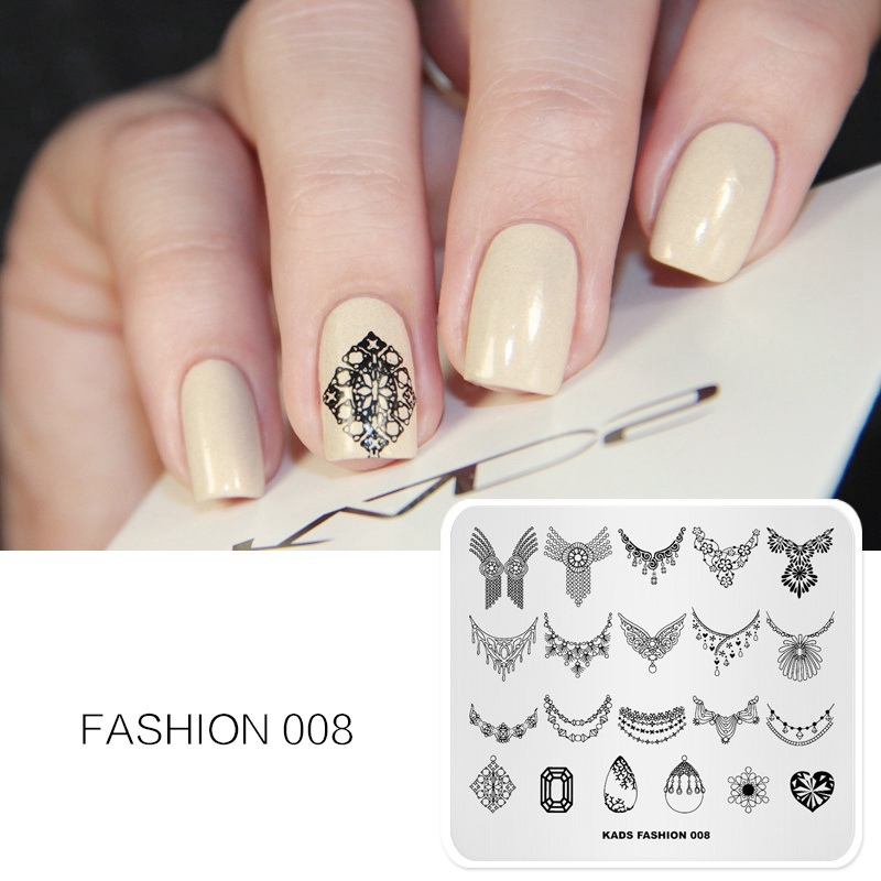 nail stamping plates diamond necklace