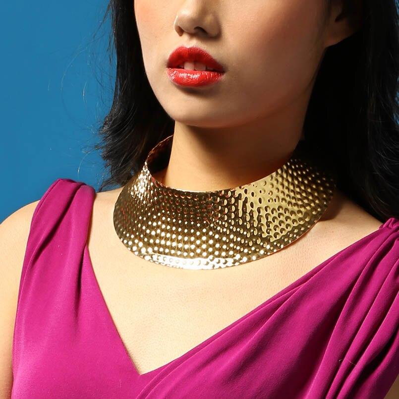 MANILAI Punk Design Alloy Open Torques Choker Necklaces ...