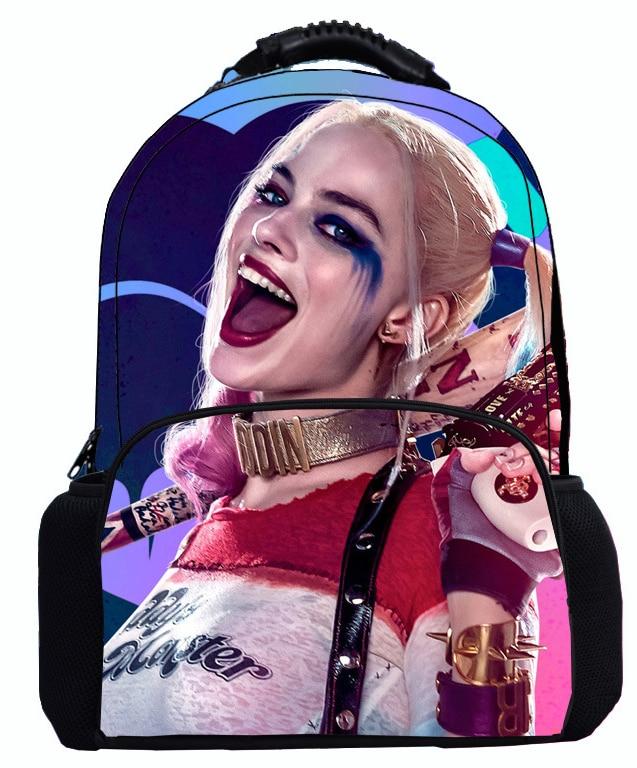 17 Inch Suicide Squad Backpack For Teenager Children Harley Quinn Joker School Bags Shoulder Bag Boys Girls School Backpacks suicide squad harley quinn harleen quinzel high quality pu short wallet purse with button