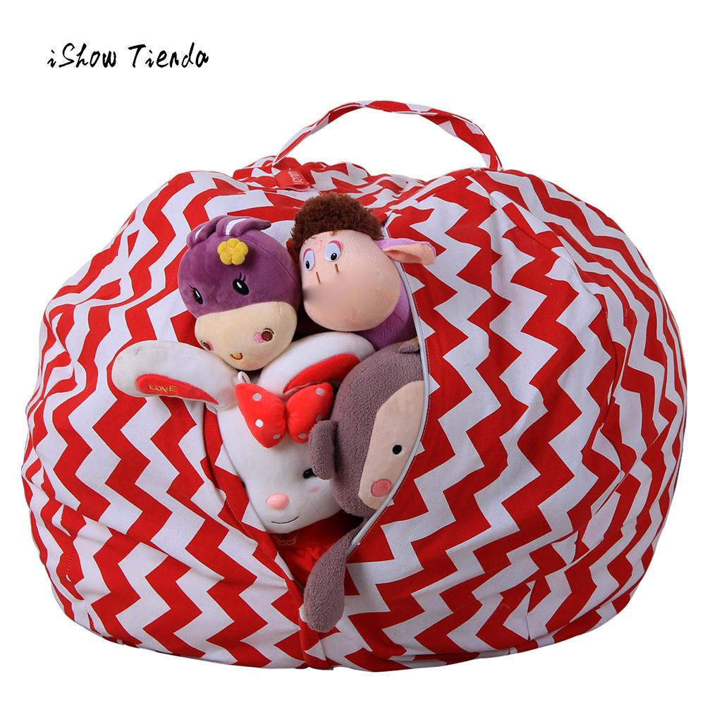 buy kids stuffed animal plush toy storage bean bag soft pouch stripe fabric. Black Bedroom Furniture Sets. Home Design Ideas