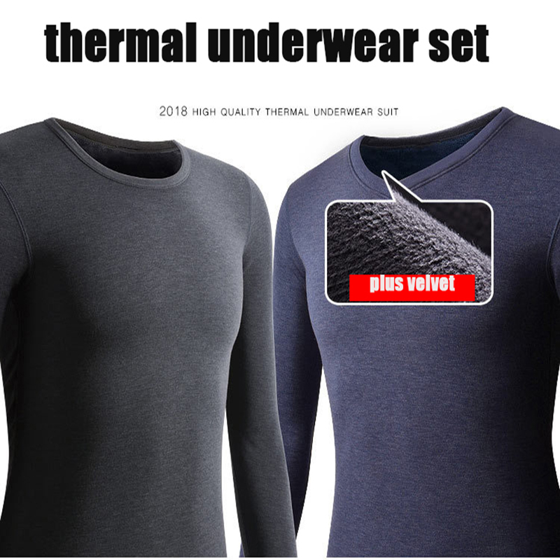 XL-7XL Thermal Underwear Sets Fleece Thick Solid Winter Inner Wear Soft Warm Undershirt Underpants 2 Pieces Set Men Long Johns
