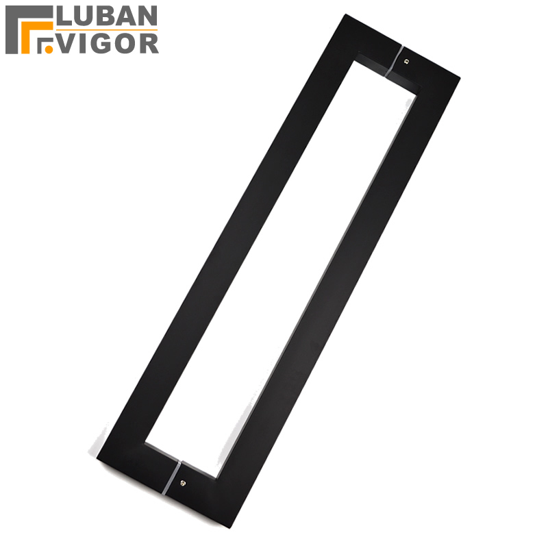 Frosted matte black Noble Stainless steel Square tube handle bathroom wooden glass doors handle 600mm