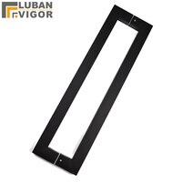 Preto fosco fosco  punho quadrado de aço inoxidável nobre do tubo  punho de portas de madeira/vidro do banheiro  600mm