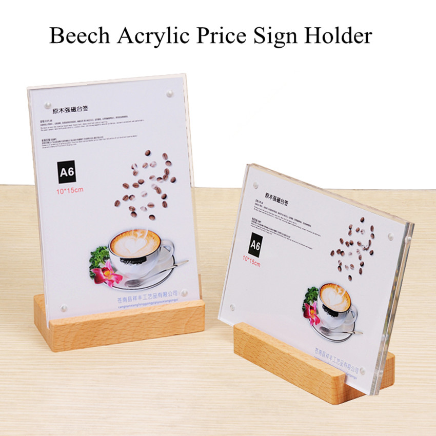 90*60mm Acrylic Material Horizontal Vertical Paper Sign Holder Display Stand L Shape Table Products Label Price Tags Sign Holder