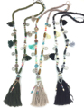 New Boho Pink Cotton Tassel beades chain long Necklace coin charm necklace