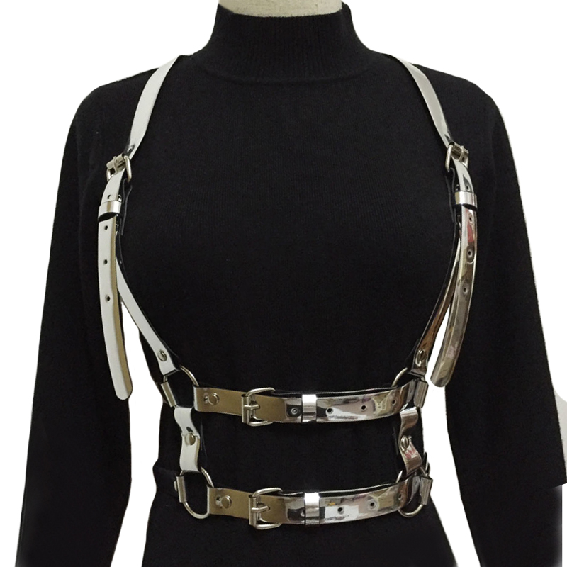 Hot Women harness Bra body crop top Adjust Cage gold silver pu leather harness Sexy body stocking Goth harajuku belt accessories