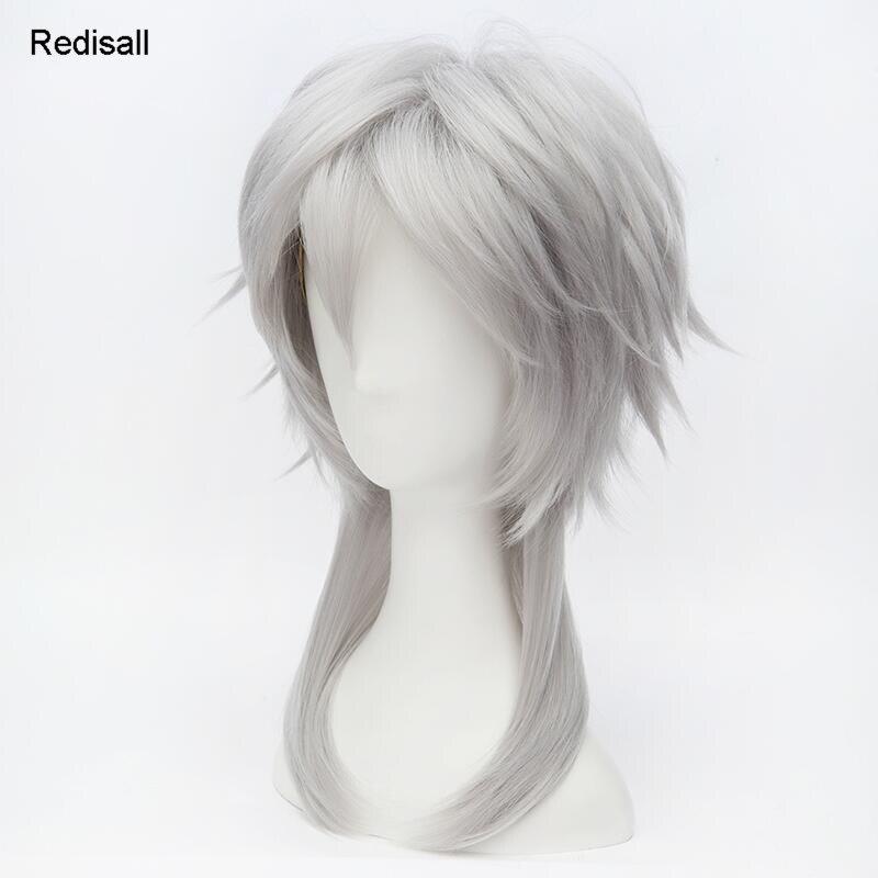 KATSUGEKI TOUKEN RANBU Cosplay Wig Tsurumaru Kuninaga Silver Gray Short Synthetic Hair for Adult Anime Costumes     - title=