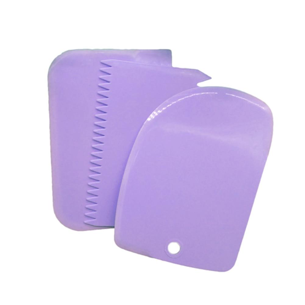 3pcs/set  Different Shapes Baking Plastic Cake Smoother Serrated Cream Scraper Reusable Decoration Tool