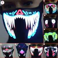 Waterproof LED Luminous Flashing Creative Face Mask Party Masks Light Up Dance Halloween Cosplay