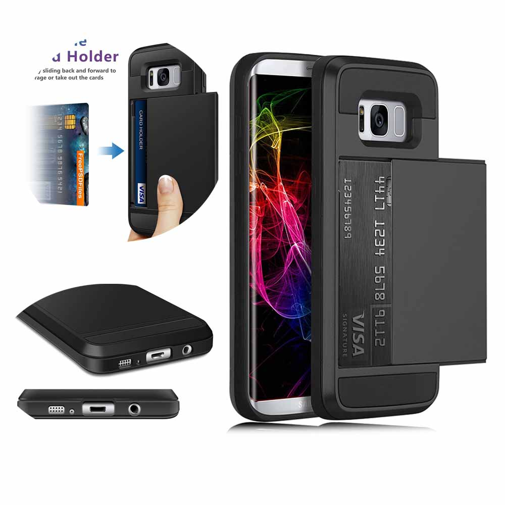 Slide Wallet Credit Card Slot Hard PC Phone Case For Samsung Galaxy S8 S8Plus S6 S7 edge Dual Layer Armor Shockproof Back Cover slide wallet