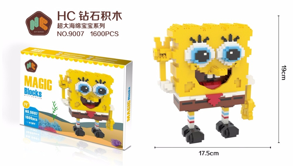 HC Magic Blocks SpongeBob Big size Building Blocks Anime Patrick Star Squidward Bricks Mini Action Model Toys Xmax Gift 9007 6pcs 1set anime doll spongebob patrick star mini action figures nendoroid resin model toys novelty products for gifts mbb1t6