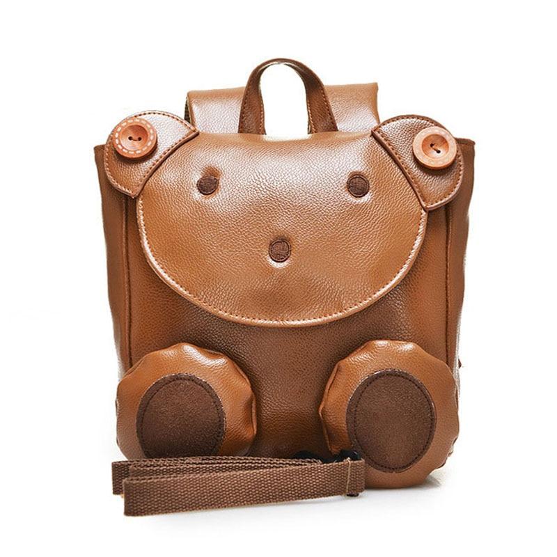 Cute Bear Anti-verlorene Baby Taschen Leder PU Kinder Rucksack Kinder - Rucksäcke