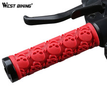WEST BIKING Rubber Cycling Grips Skull Model Anti-Skid Damping Bicycle Handle Bar End Caps Lightweight Lock-on Bicycle Grips(China)