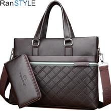 business genuine leather bag black messenger bag men leather laptop bag office bags for men briefcases brown Lingge briefcase цена 2017