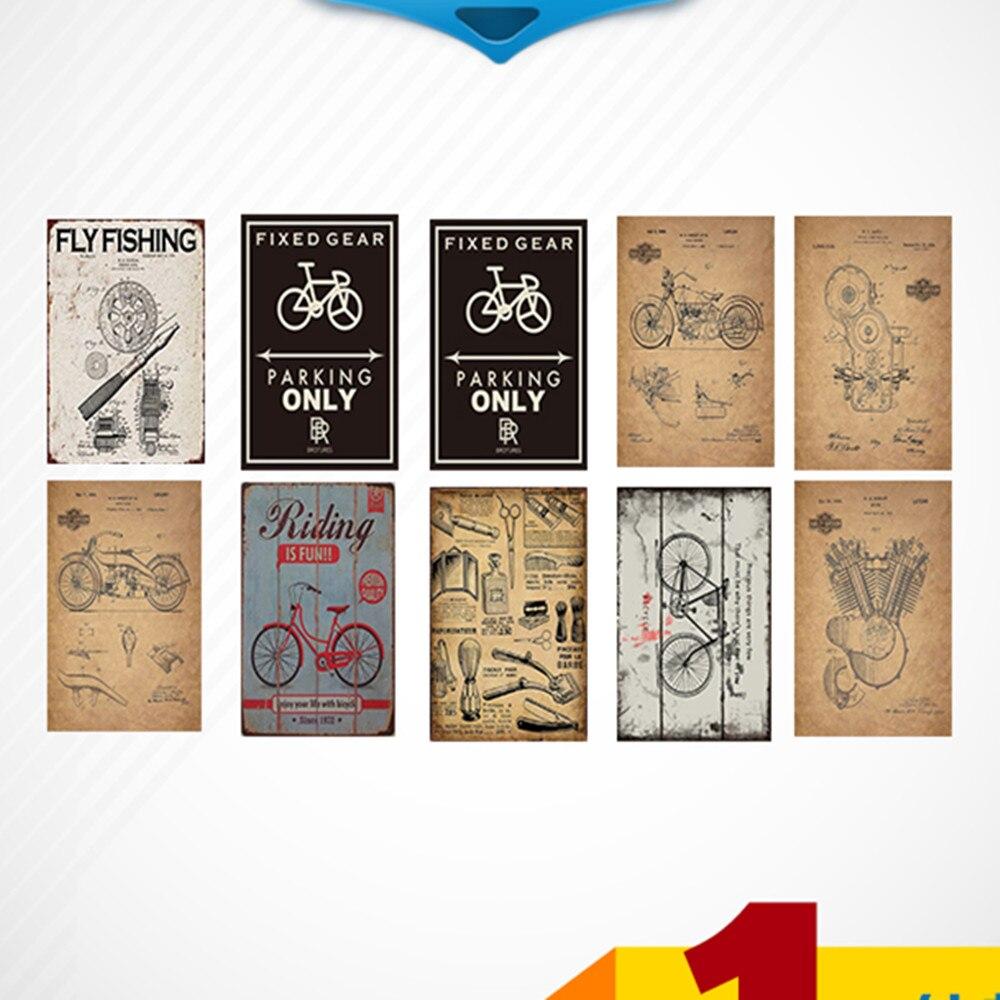 Dolce Bicicletta \ Moto \ Barbiere Negozio Di Poster Shabby Chic Di Latta Pittura Del Metallo Segni Di Latta Di Marca Ferro Di Arte Autoadesivi Della Parete Della Decorazione 30x20 Cm