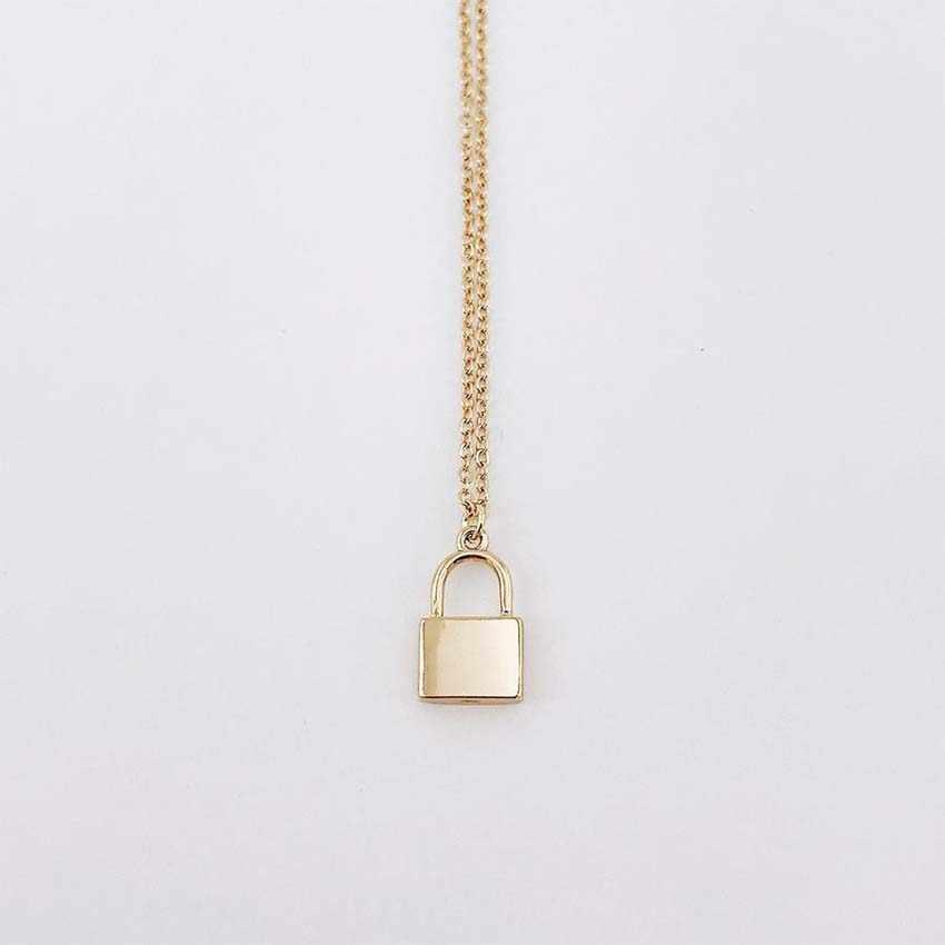 Nuove Donne di modo di Colore Oro argento Catena di Aggancio serratura Lunga collana di Gioielli collana Bijoux Femme Joyas mujer Collier ras du cou