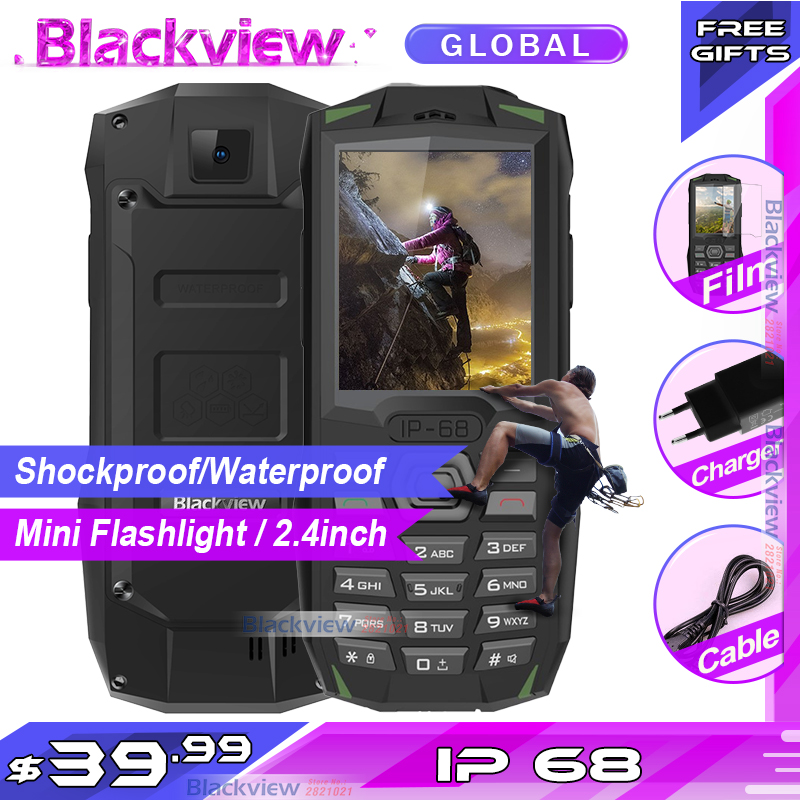 Livraison rapide pour 2019 Blackview BV1000 IP68 smartphone étanche antichoc robuste téléphone portable 3000mAh Mini lampe de poche