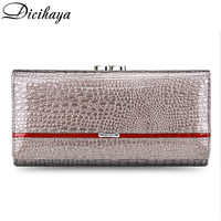 DICIHAYA Brand 2019 Genuine Leather Women Wallets Alligator Long Hasp Zipper Wallet Ladies Clutch Bag Purse Female Luxury Purses