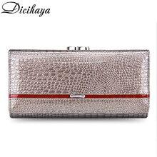 DICIHAYA portefeuille en cuir véritable pour femmes, pochette 2020, Alligator, Long loquet à fermeture éclair, bourse pour dames, bourse de luxe