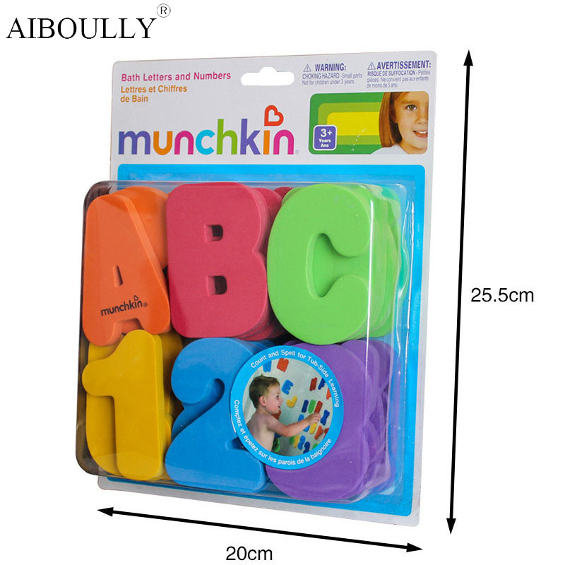 36-Piece MunchkinS Child Puzzle Baby Toy EVA Bath Alphanumeric Letters Numbers Bathroom Water Toys Early Educational Kid Toy rubber pig baby bath toy for kid