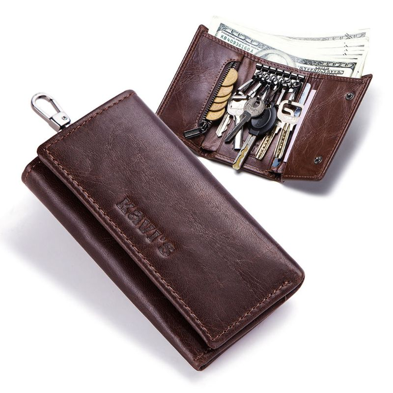 High Quality Genuine Leather Car Key Ring Wallet Keychain Case Holder Bag Purse Pouch Fashion