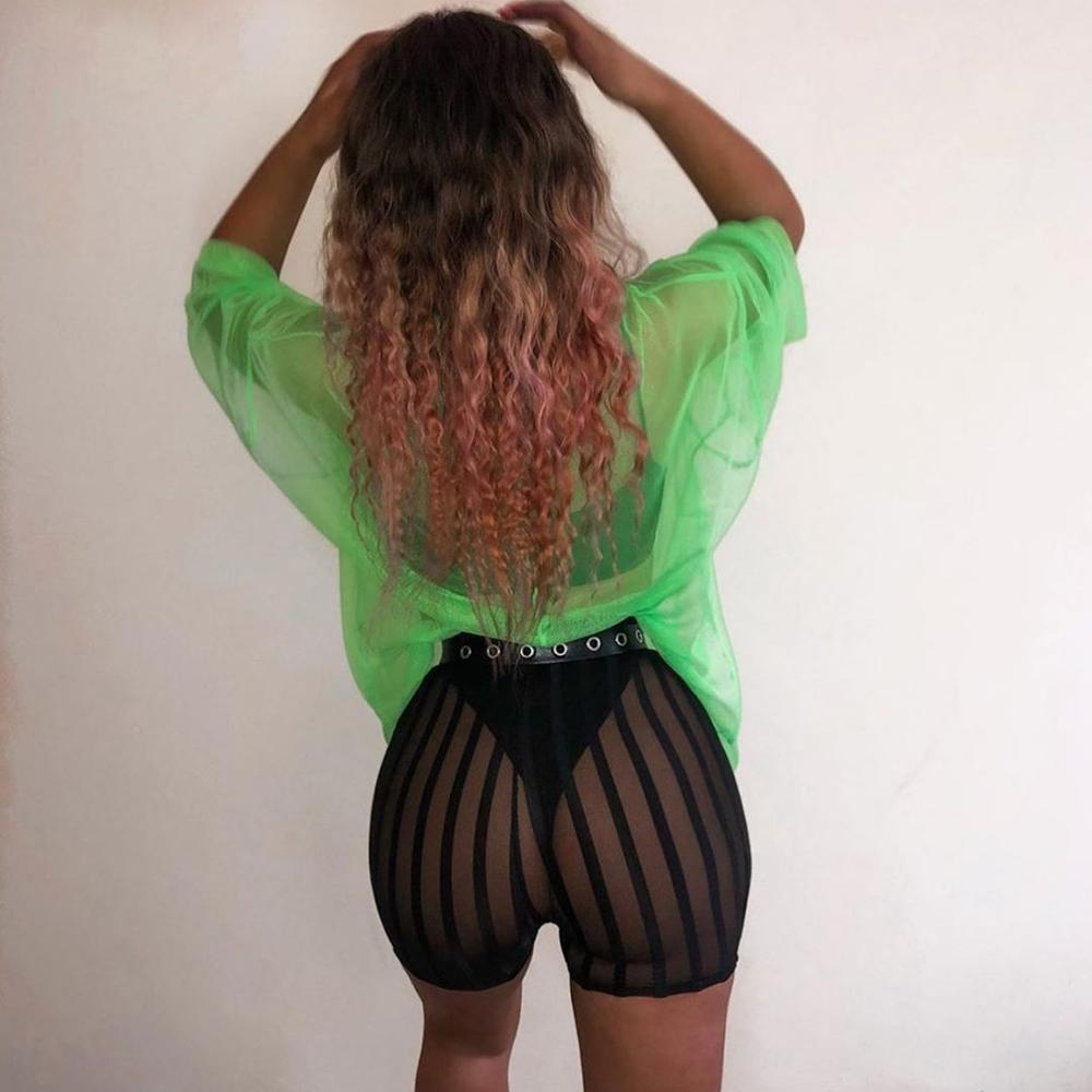 Sexy See Through Push Up Women   Leggings   Bottom Strip Mesh Patchwork Club Streetwear 2019 Summer Hot Fashion Black Leggins Pants
