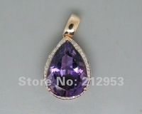 Vintage Pear 15x20mm 16.80Ct 14Kt Rose Gold Amethyst Pendant Jewelry