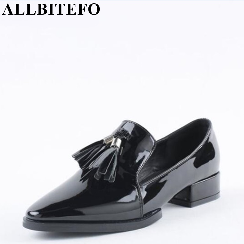 ФОТО Classcis fashion full genuine leather pointed toe thick heel tassel design casual shoes woman pointed toe platform women pumps