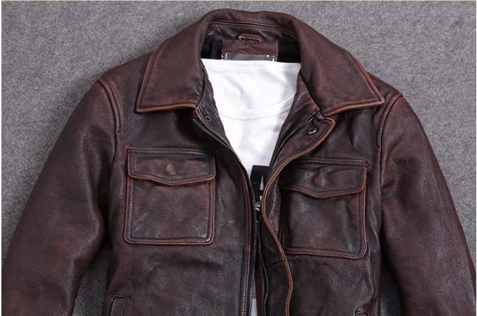 HTB1P2. a8Gw3KVjSZFwq6zQ2FXaT Free shipping.Plus Size classic leather jacket,short genuine leather coat,vintage brown mens slim leather coat.business,sales