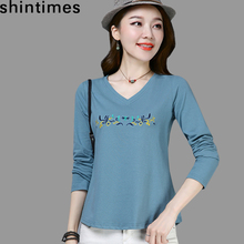 shintimes Embroidery T Shirt Long Sleeve Tshirt Women clothes 2019 V-Neck Cotton Floral T-Shirt Femme Plus Size Womens Clothing