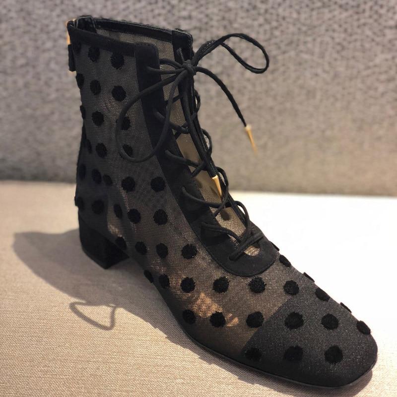 9e4ac8eae3b816 Femme Bottes Maille Feminina Zipper Polka Zapatos Pompes Retour Bota Mujer  Haute Points Pic Cheville Chaussures Faible As Talon ...