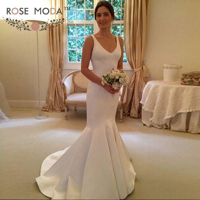 Chic Deep V Neck Mermaid Wedding Dress Open Back Destination Bridal ...
