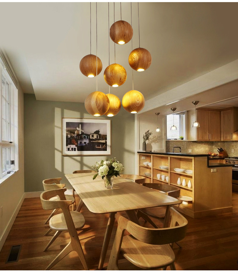 Solid wood modern pendant light Chinese Japanese Nordic creative minimalist living room dining wood ball wooden pendant lamp nordic creative personality dining room pendant light rectangular post modern studio light office light solid wood led lamp