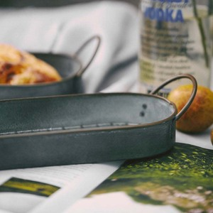 Image 3 - ヴィンテージ金属収納トレイレトロデザートフルーツケーキパンプレートハンドルホームキッチン食品オーガナイザーデスクトップ雑貨トレイ