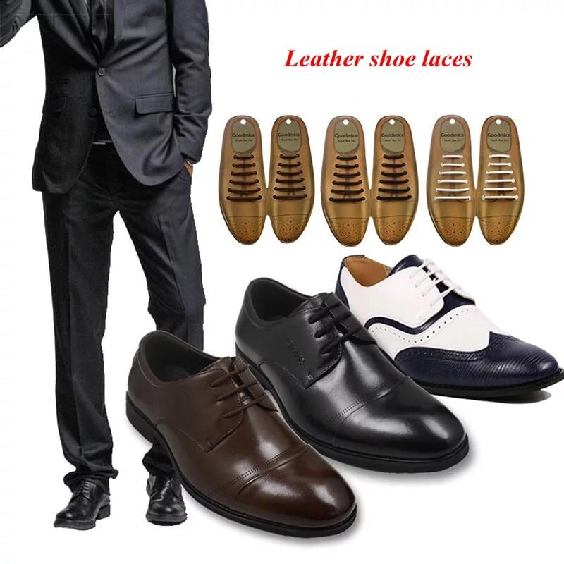 12pcs/set 3 Sizes Men Women Leather Shoes Lazy No Tie Shoelaces Elastic Silicone Shoe Lace Suitable 3 Colors L6