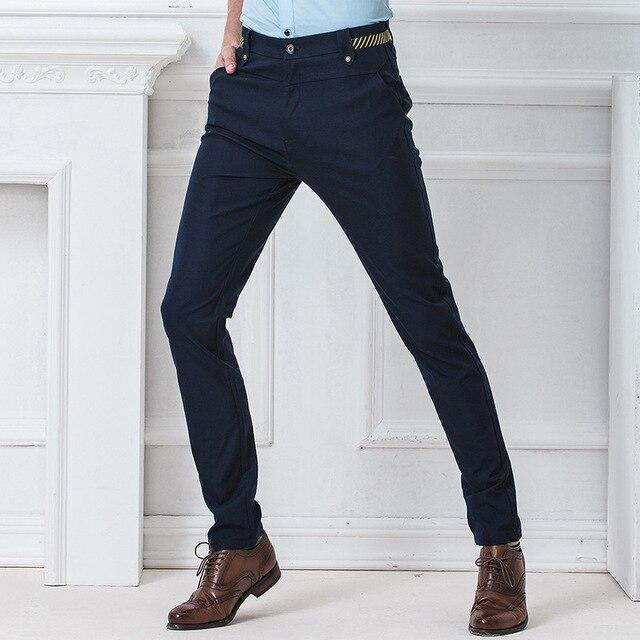 5626deca0e6cd Homme Slim Fit Pantalon Formal Man Dress Pantalones De Vestir hombre men  Autumn Stretch Skinny Cotton Lunga Pants Trousers