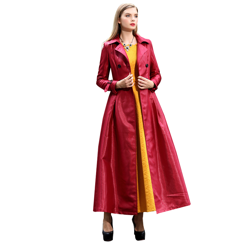 Manteau Printemps Double Vêtements vent Coupe Long Outwear Islamique Automne Breasted Musulman Rouge Maxi Femme Femmes XwH4qX