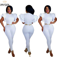 IMYSEN Fashion White Skinny Jumpsuits Women 2017 New Summer Autumn Casual Jumpsuit Solid Long Pant Short