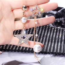Korean Version Of The New Silver Needle Asymmetric Five-Pointed Star Pearl Tassel Earrings