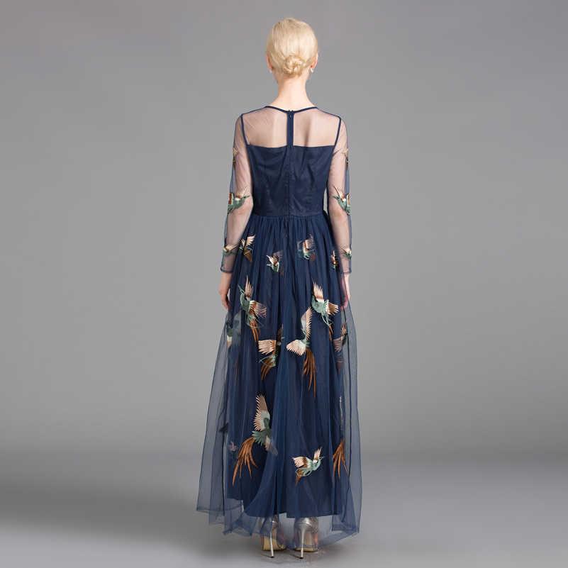 eb68c64272565 High quality 2016 new summer maxi dress women track net yarn/phoenix bird  embroidery long dress
