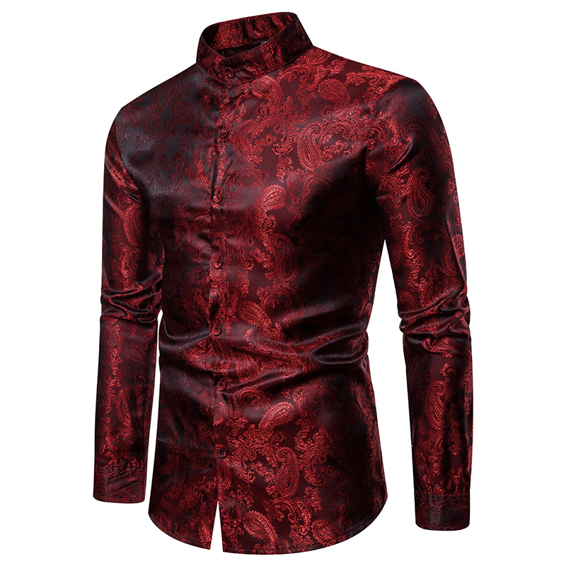 Red Blue White Gray 2019 Men Brand Fashion Luxury Dark Embroidery Slim Dress Shirts Bussiness Wedding Party Singer Stage Shirt(China)