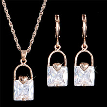 H:HYDE Crystal Jewelry sets Handbag Gold Color Dangle Pendant Necklace Earrings Set Sieraden sets(China)