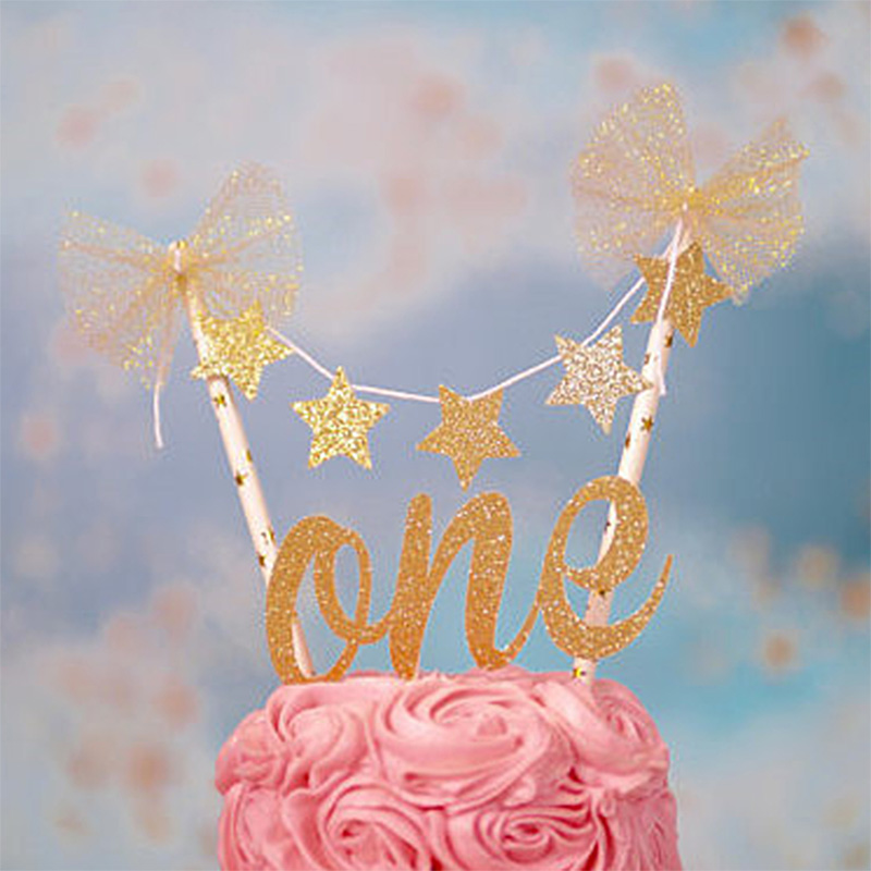 baby 1st birthday cake topper gold one letter glitter stars cupcake toppers for baby shower birthday cake decorations supplies