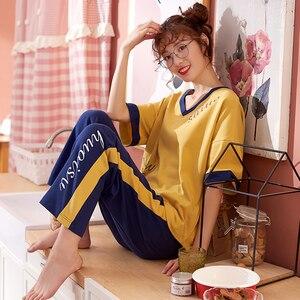 Image 3 - Conjunto de pijamas de algodón de verano para mujer, pantalones de manga corta de dibujos animados, traje de dos piezas, ropa de moda para el hogar para mujer M L XL XXL