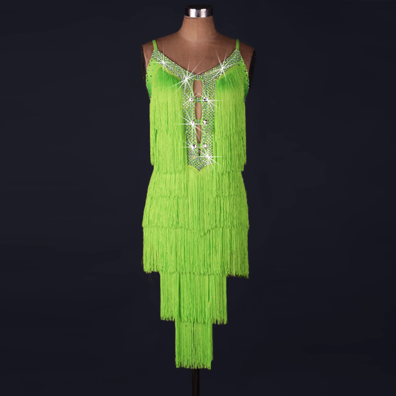 2018 sexe adulte dame Latine Danse Robe Royal Organza strass gland Lulu Danse Robe Robe Danse Latine Tango Samba femme