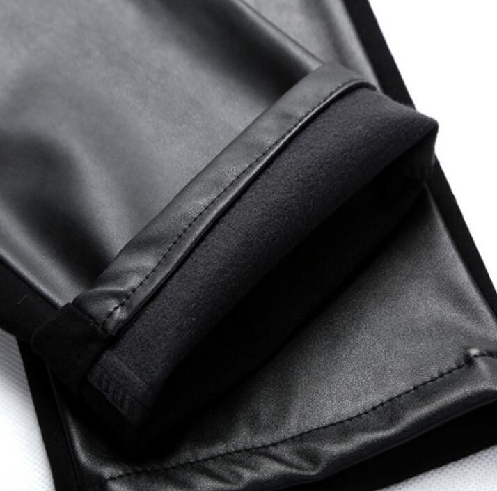 Automne Le Noir Épaissir Moto Pantalons Cuir Casual Droite Plus Couture Velours Pour Hiver Hommes Maigre En Thermique Pantalon TzTHqwx7