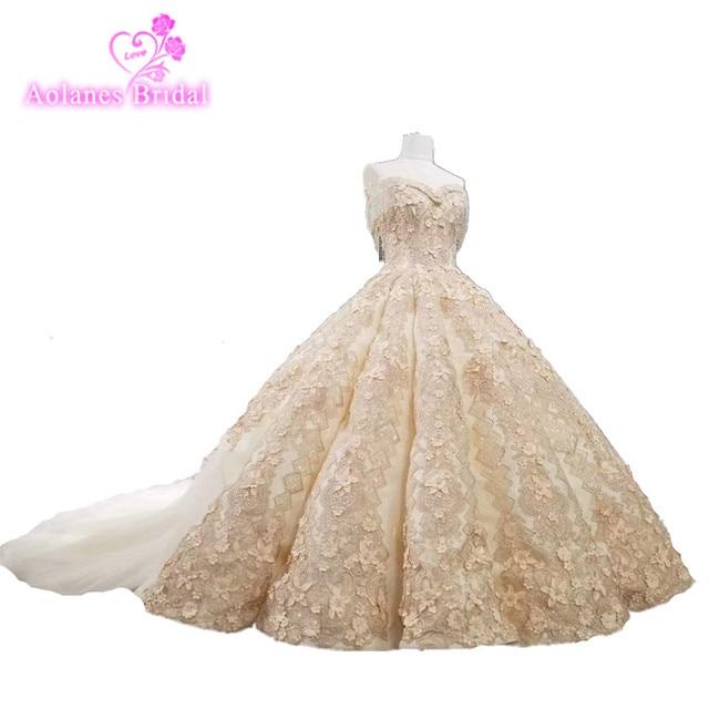 AOLANES 2018 Tassesl Champange Ball Gowns Bridal Arabic Dresses Luxury Lace Waves Wedding Dresses Lebanon Bridal Gowns