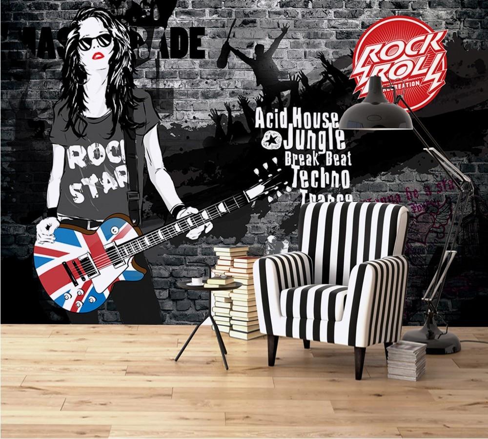 Livraison gratuite papier peint personnalisé Mural Rock mode Doodle Bar fond papier peint loisirs Bar mur peinture salon