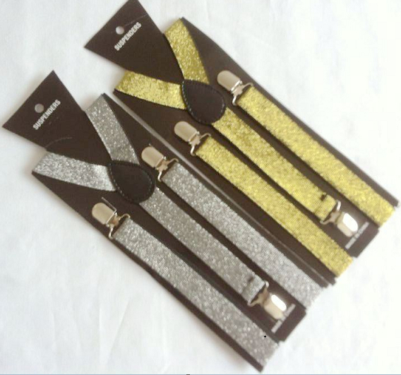 Free Shipping 2O14 Unisex Adjustable Clip-on Braces Elastic Gold and silver Suspender For men and women